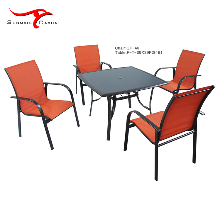 Garden Furniture Outdoor Steel Sling/Textilener Terrace Coffee Dining Table and Stacking Chair Set