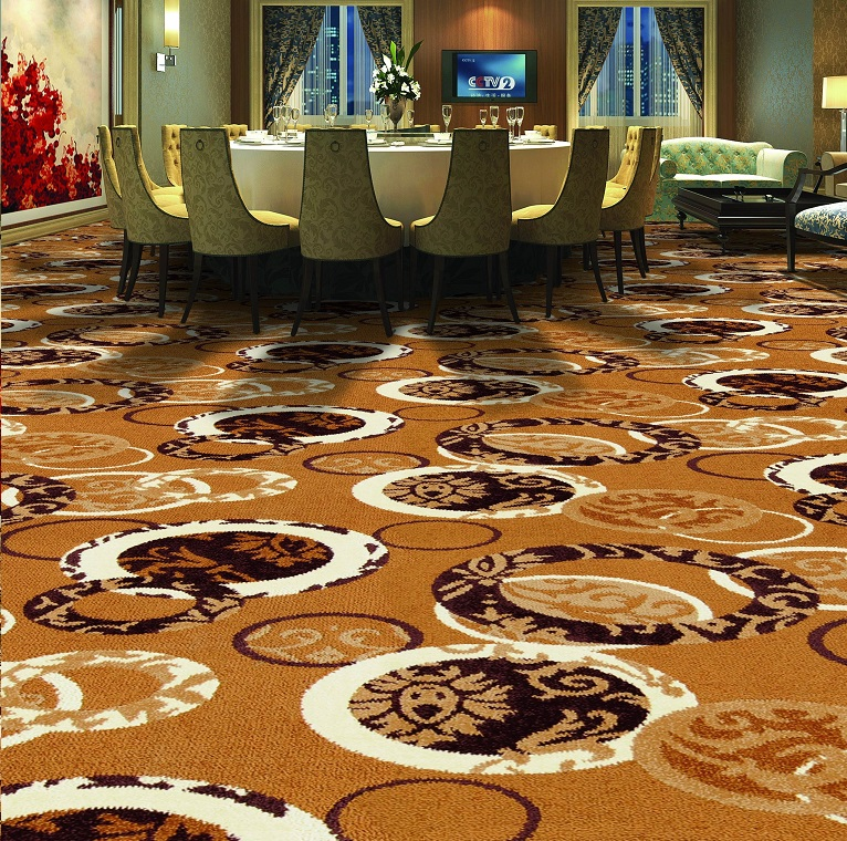 Circular Patterns Hotel Carpet, Hall Broadloom Carpet