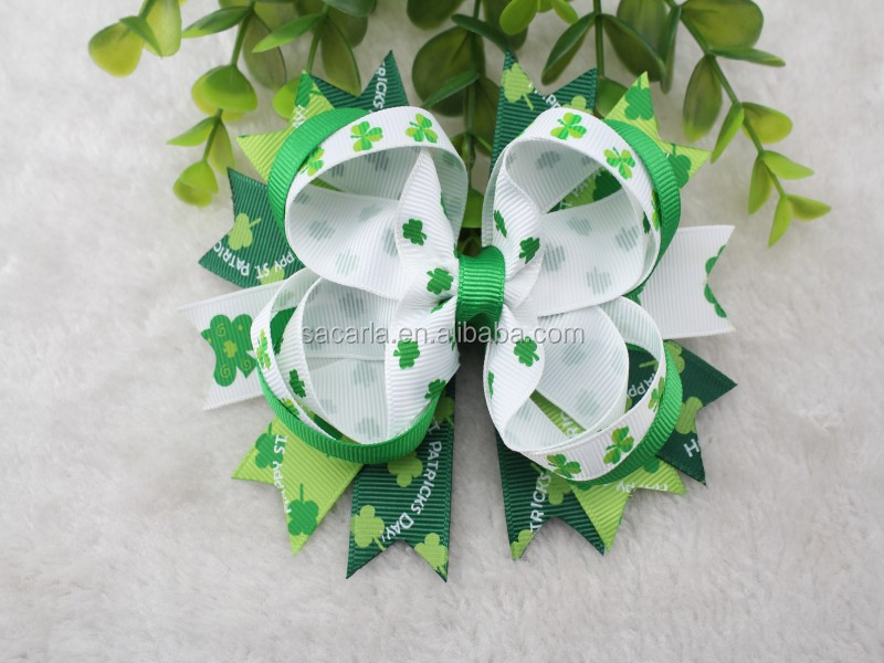 Happy St. Patrick's Day ribbon Bows Big Size Shamrock Hair bows