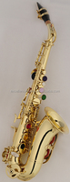 gold lacquer Bb brass material children curved bell soprano saxophone