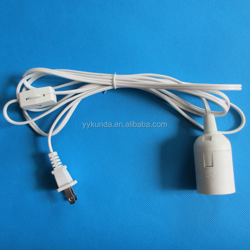 UL approval US America 2 pin power cord with on off switch and bulb holder lamp cord