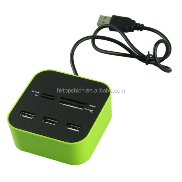 7 in 1 usb hub, 3 Ports USB 2.0 Hub & 4 Ports Multiple Card Reader Mini Port Adapter For Notebook/Laptop/SD/TF/MS&M2 Cards