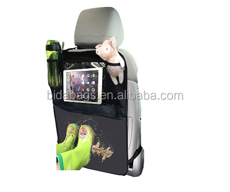 "Kick Mats Organizer for Car Seat Back Protector with 10.1"" Clear Tablet Holder for Kids Toys Travel Accessories"