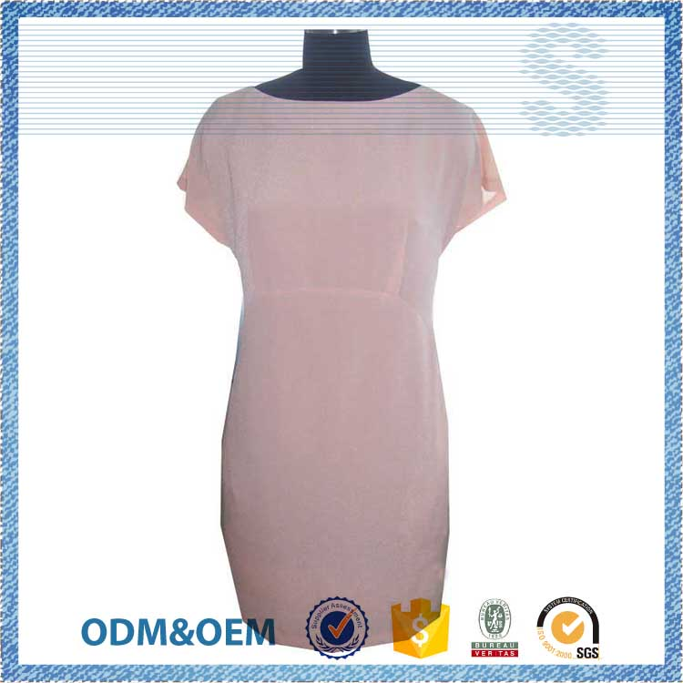 NBZC LOGO customized hot selling round neck dress pattern,100% silk ladies simple fashion dress,new ladies dress