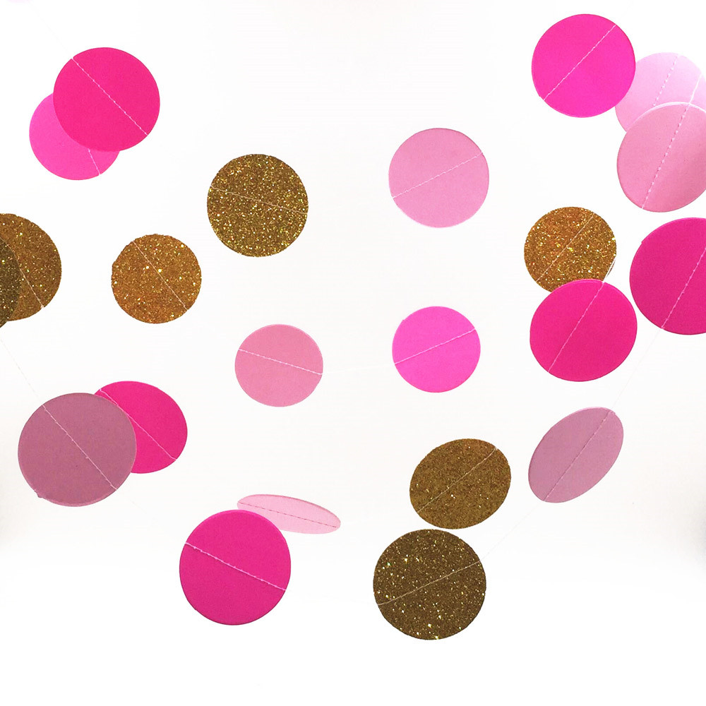 Gold /Ros/Pink Glitter Christmas Paper Garland, Circle Garland, Shower Party Banner Home Decoration Baby Shower Circle Garland