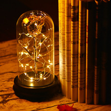 Preserved Beauty Pure Gold Covered 24k Metal Rose Flower Eternal Rose Superstay Flowers With Led Lights in Glass Dome