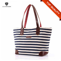 Customized Casual Lady Cotton Waxed Canvas Tote Bag Leather Handle