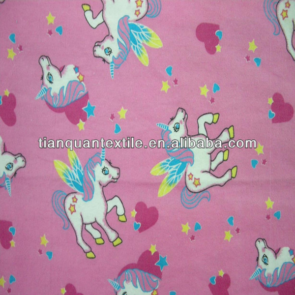 Red Little Horse Printed Flannel Fabric