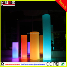 Rechargeable battery LED round column floor standing lamp for wedding event