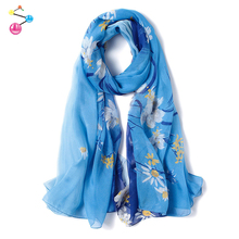 Top Quality Chinese Women Printed 100% Silk Scarf