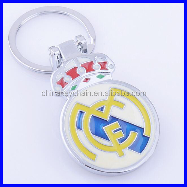 Zinc Alloy Silver football club badge Metal Keychain , <strong>keying</strong>