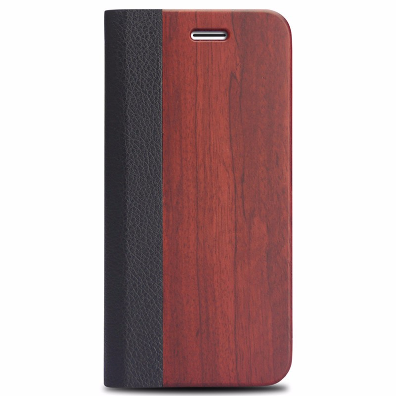Promotional for iphone 7 luxurious wood wallet case,leather phone wallet case