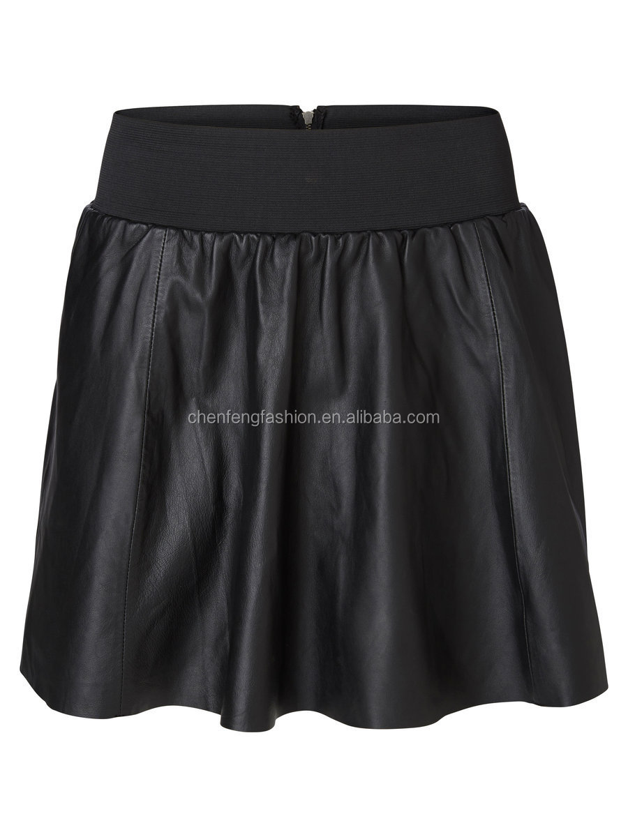 Womens high waisted leather sexy tight mini skirt