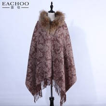 2017 Factory wholesale warm real Fox fur collar cashmere shawls