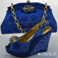 Big size 2015 new design italian shoe and bag set MS558 BLUE