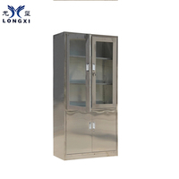 stainless steel High Quality Half Glass Door Cabinet Stainless Steel Movable Roll Top Cabinets