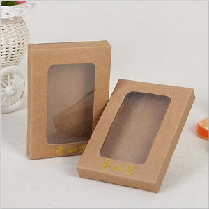 Custom Brown Kraft Paper Box Packaging with PVC Window for Gift