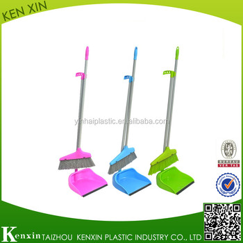 Eco-friendly new design plastic PP home dustpan and broom with long metal handle