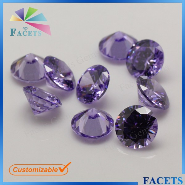 FACETS GEMS Rough Cubic Zirconia Round Brilliant Cut Lavender Moissanite Gemstones