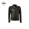 2017 new design black zip up long sleeves leather jackets for men