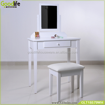Wholesale home furniture makeup vanity table and mirror set with a stool