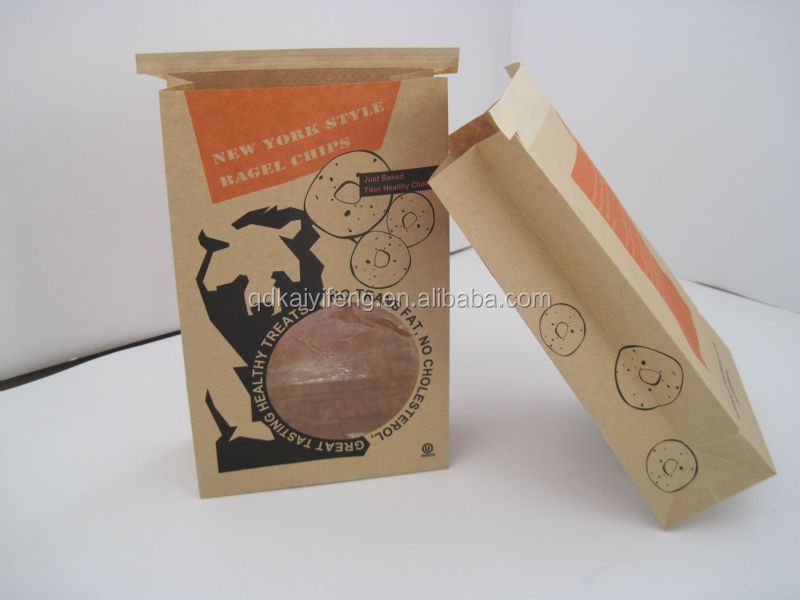 qingdao china cheap brown paper bags with clear window