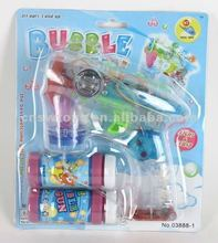 Transparent led light flashing with music bubble gun toy with 2 bubble liquid CB1801518
