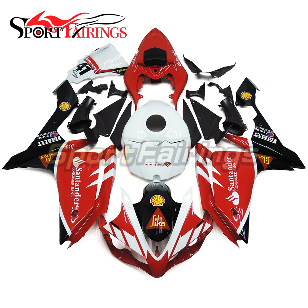 ABS Injection Fairings For Yamaha YZF <strong>R1</strong> <strong>07</strong> 08 Plastic Injection Motorcycle Kit Body Kits Santander 41 Red Covers
