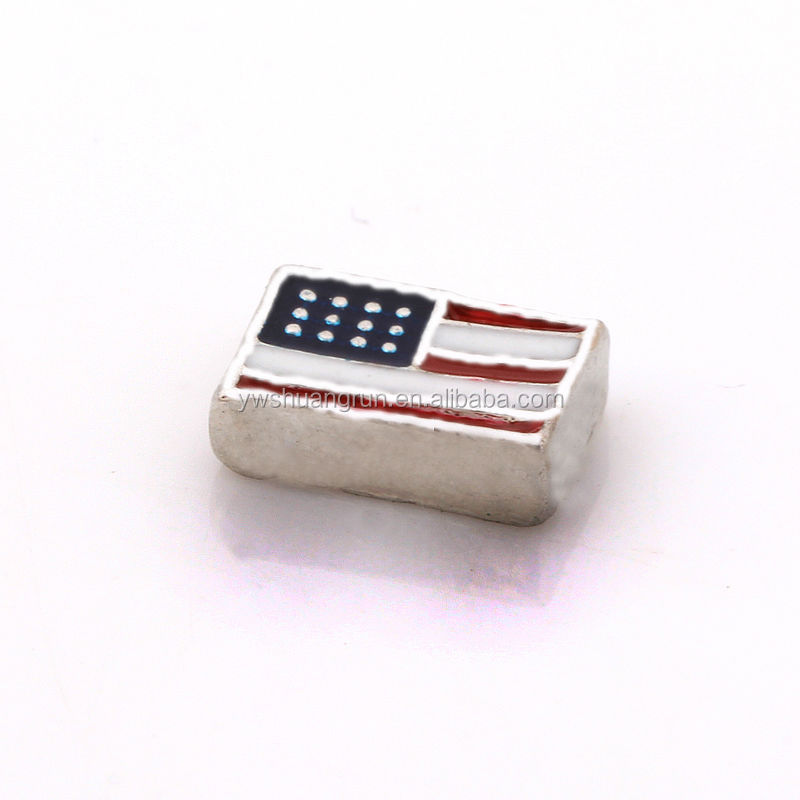 Fashion American flag pattern locket charms wholesale alloy charms for American jewelry