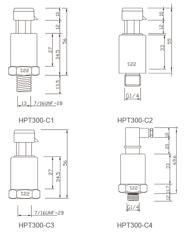 Holykell factory R134a, R22, and R410a Chiller Air conditioner Refrigerant Pressure Sensor HPT300-C