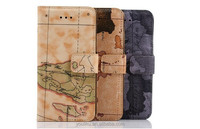 2014 World map pattern Guangzhou supply best peice leather case for samsung galaxy S4 I9500