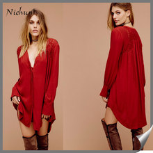 2016 Wholesale Plus Size V Neck Long Sleeve Button Front Closure Shirt Mini Dress Clothing Dropshipping