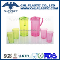 Transparent plastic pitcher with 4 cups