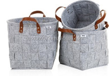 LC004 Foldable home felt laundry basket hamper with handle felt storage basket