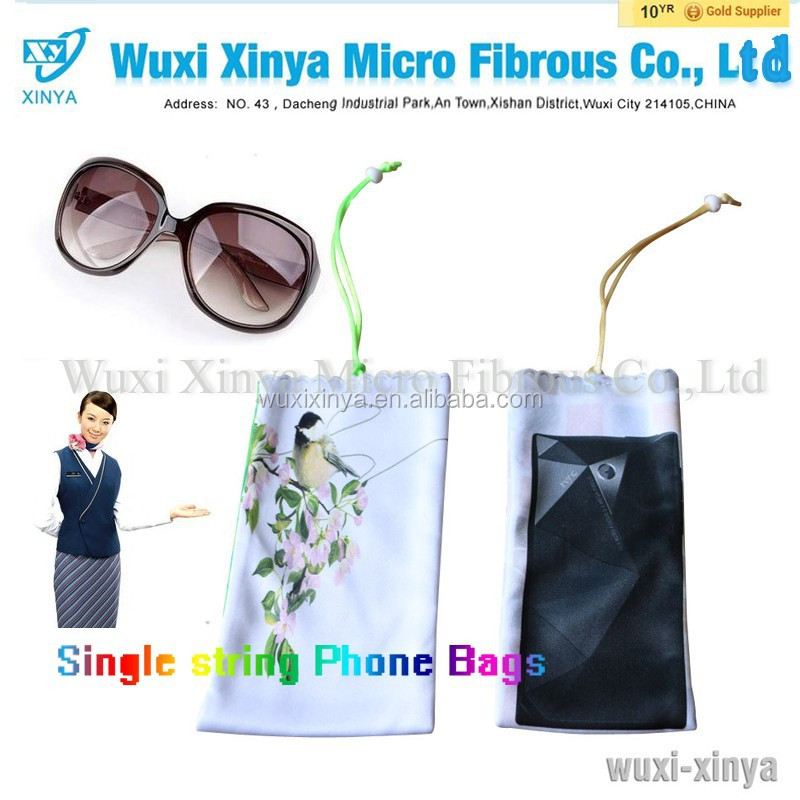 Low cost photo print polyester drawstring microfiber eyeglass pouch