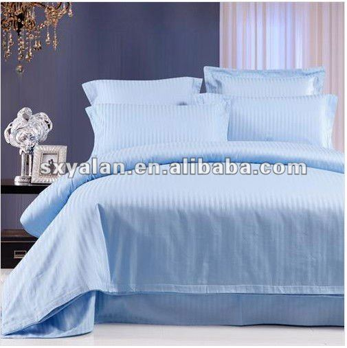 hotel/hospital 100% cotton stripe bed clothes,duvet cover,bed sheet and pillow cases