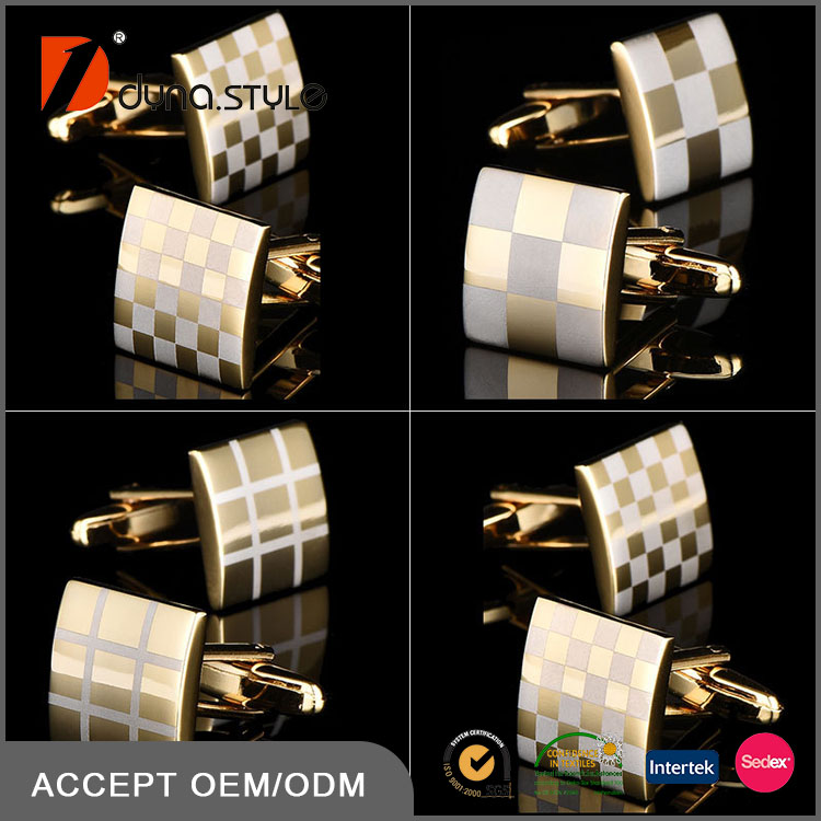 Gold Color Checked Square Design Copper Men Fashionable Wholesale Cuff Links