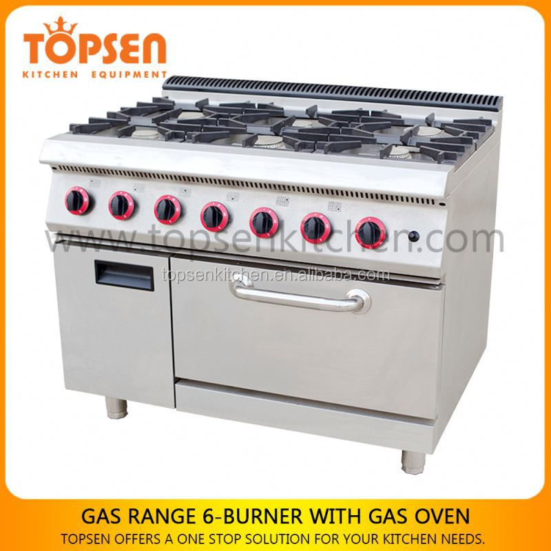 Industrial kitchen gas range oven, 6 burners gas cooker with oven, cooking ranges and appliances