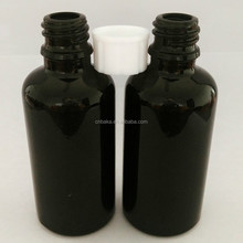 black glass boston shape 50ml facial essential oil bottle/vape oil glass bottle with 18mm neck white screw cap