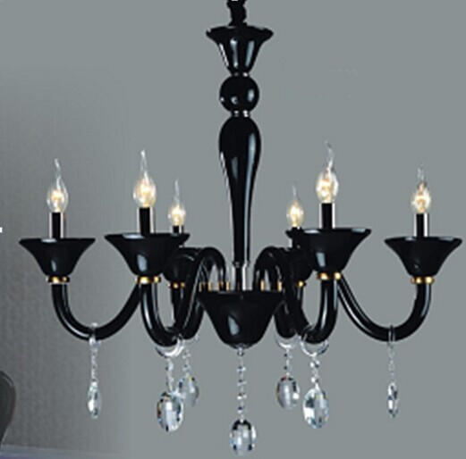 European classical retro black crystal chandelier pendant lamp