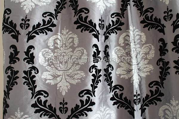 new design golden print flocking faux silk taffeta soundproof curtain