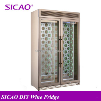 stainless steel 2 doors Wine Display Refrigerator