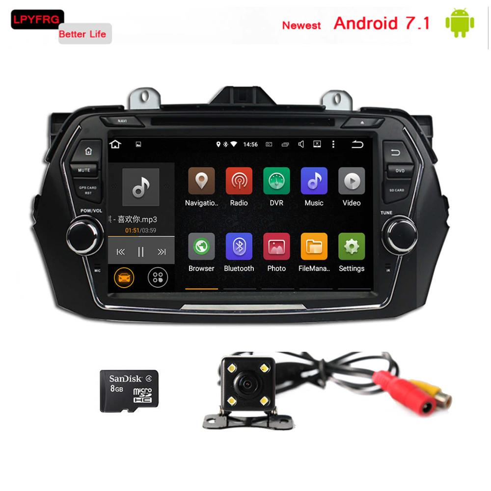 newest android 7.1 car auto dvd multimedia player built in gps navi for suzuki ciaz 2016 accessories parts tpms rear cam dab rds