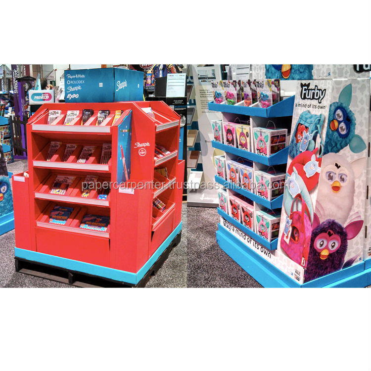 Floor Stand Corrugated Paper Retail Pallet Display Units for Stationery