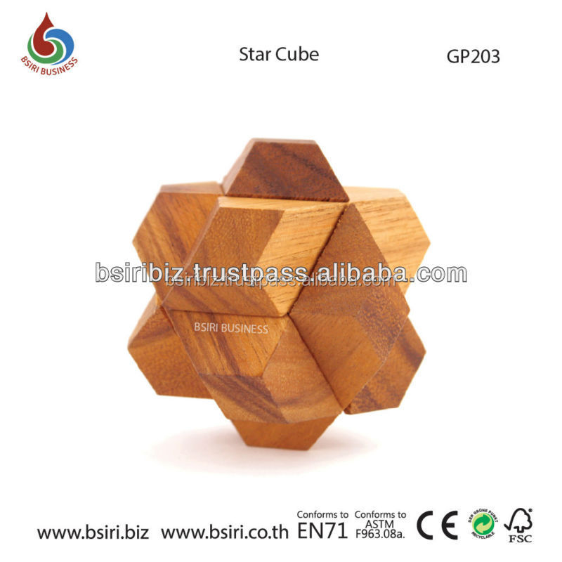 Wooden Interlocked Star Cube Puzzle Games