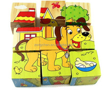 Rolimate Forest Animals Wooden Cube Block Jigsaw Puzzles , Good Toys for 1 2 3 Year Old Toddlers Kids