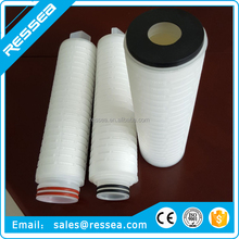 0.1 ,0.22,0.45 micron PP folded / pleated pes membrane cartridge filter