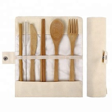 Bamboo Travel <strong>Cutlery</strong> <strong>Set</strong> include Knife, Fork, Spoon, Straw and chopsticks
