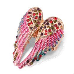 Modern Design Angel Wing Colorful Crystal Ring