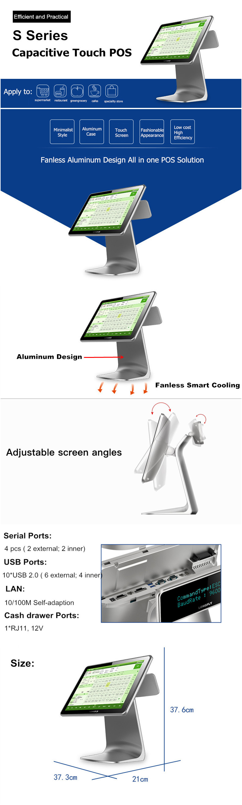 Android All in One Touch Screen POS Machine with Dual Screen